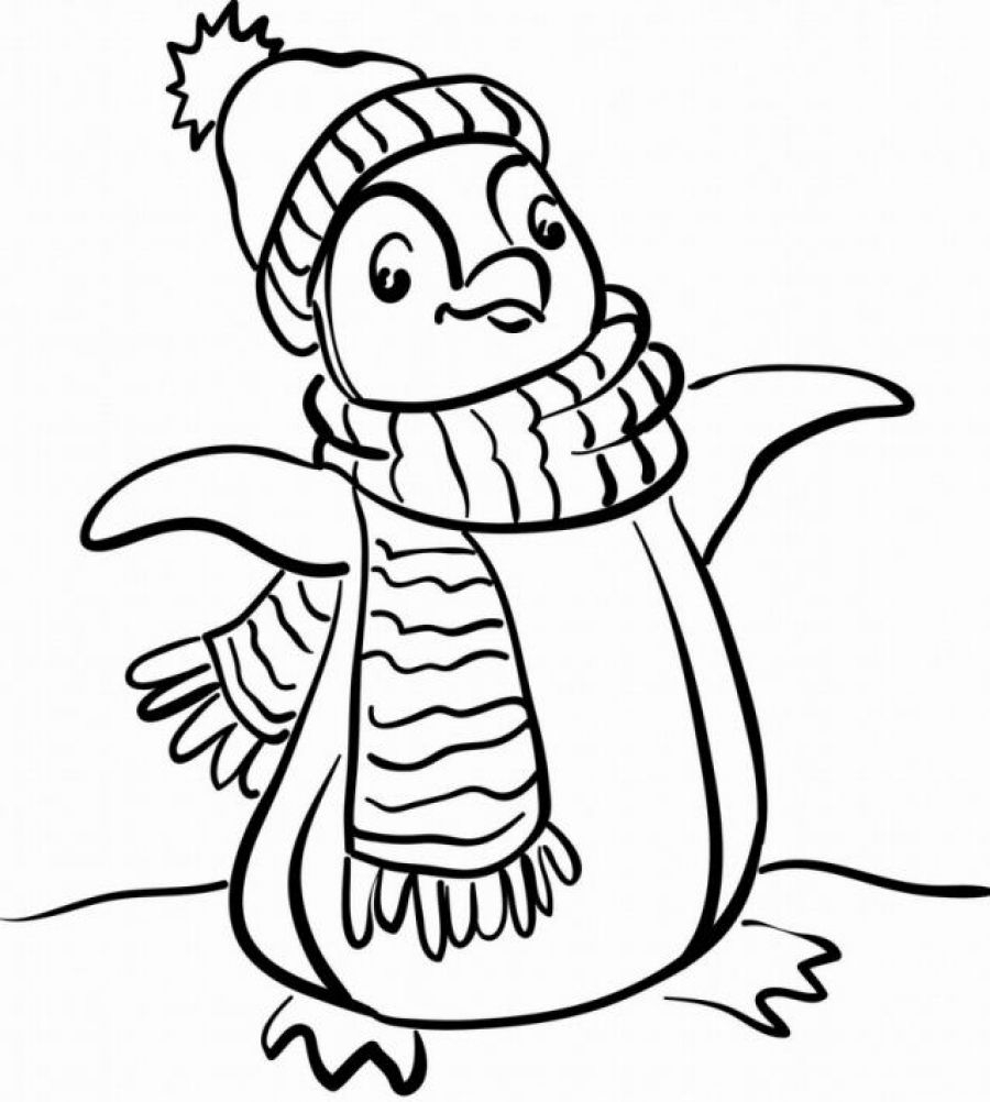 Penguin clip art coloring page. Fresh cute animal pages