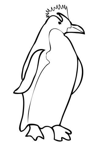 Penguin clip art coloring page. Macaroni free printable pages