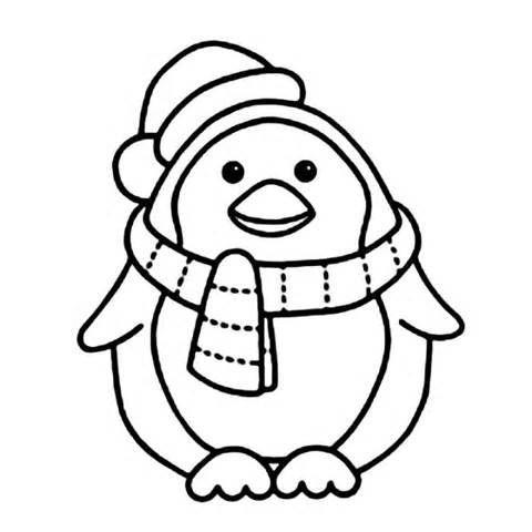 Penguin clip art coloring page. Christmas pages az