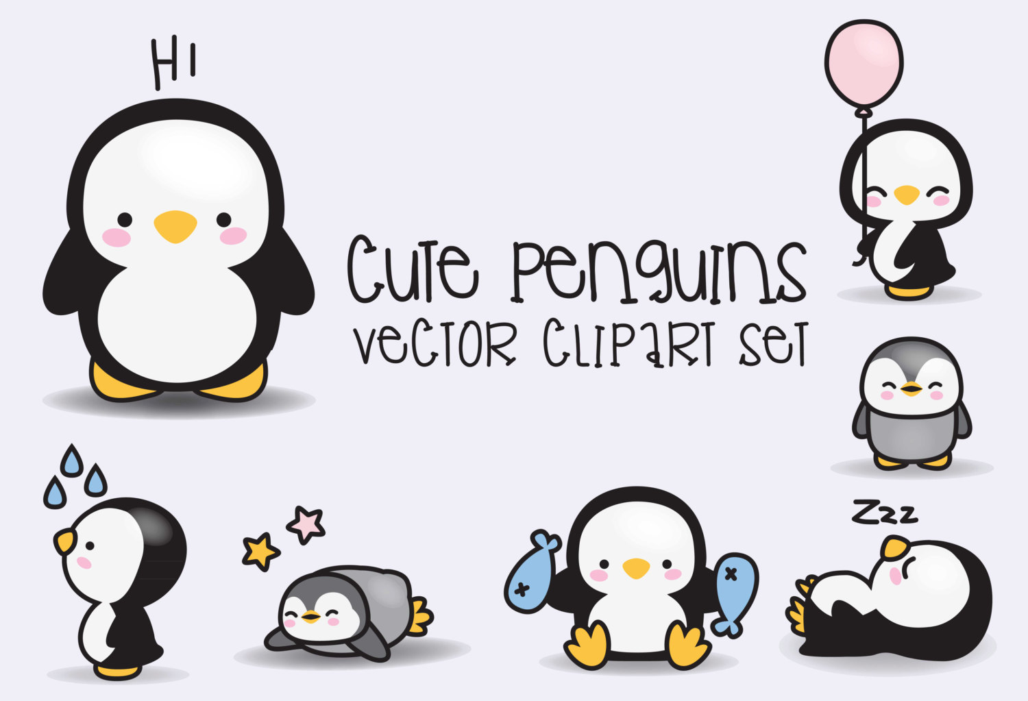 Penguin clip art cute. Premium vector clipart kawaii