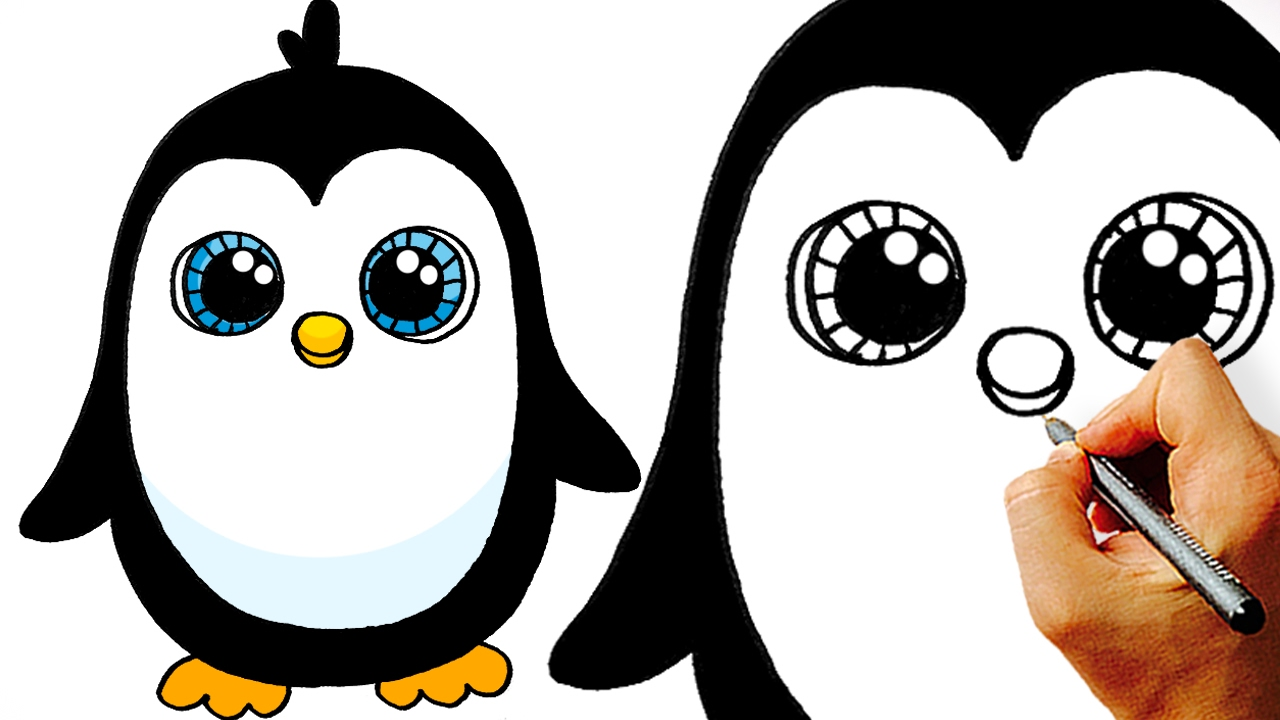 Very how to draw. Penguin clip art easy vector black and white download