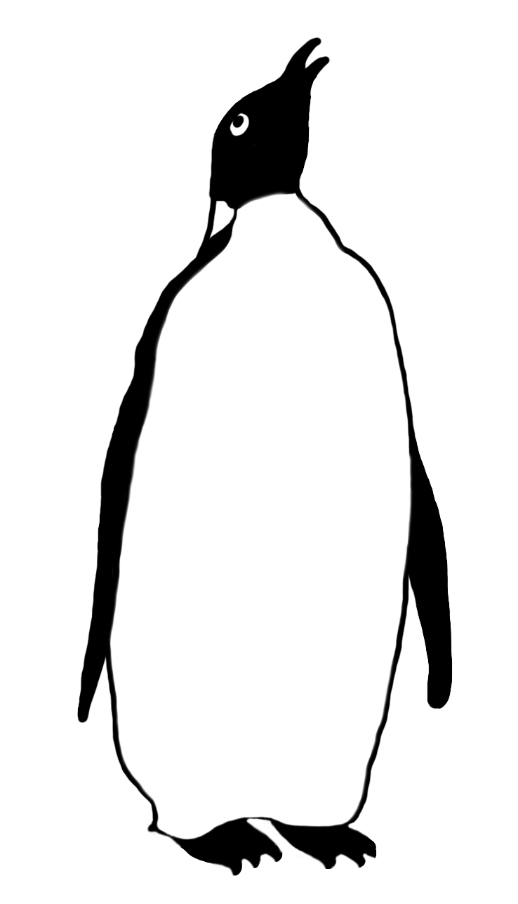 Drawing penguins. Emperor penguin silhouette at
