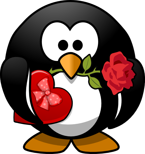 Penguin clip art heart. Valentine at clker com