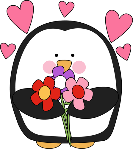 Penguin clip art heart. Valentine s day with