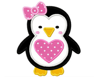 Penguin clip art heart. Girly applique clipart panda