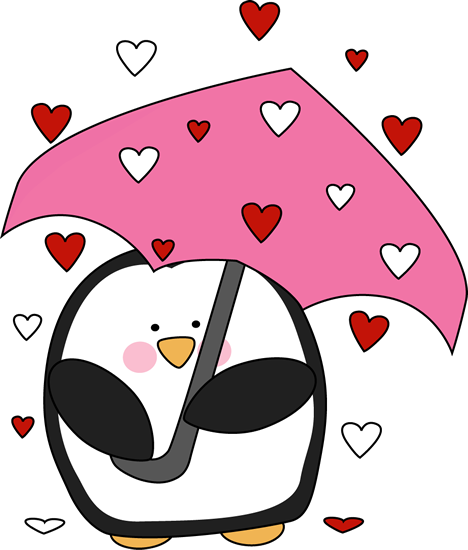 Penguin clip art heart. Raining valentine s day