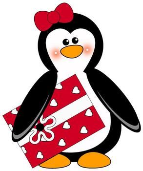 Penguin clip art heart. Lovely penguins for valentine