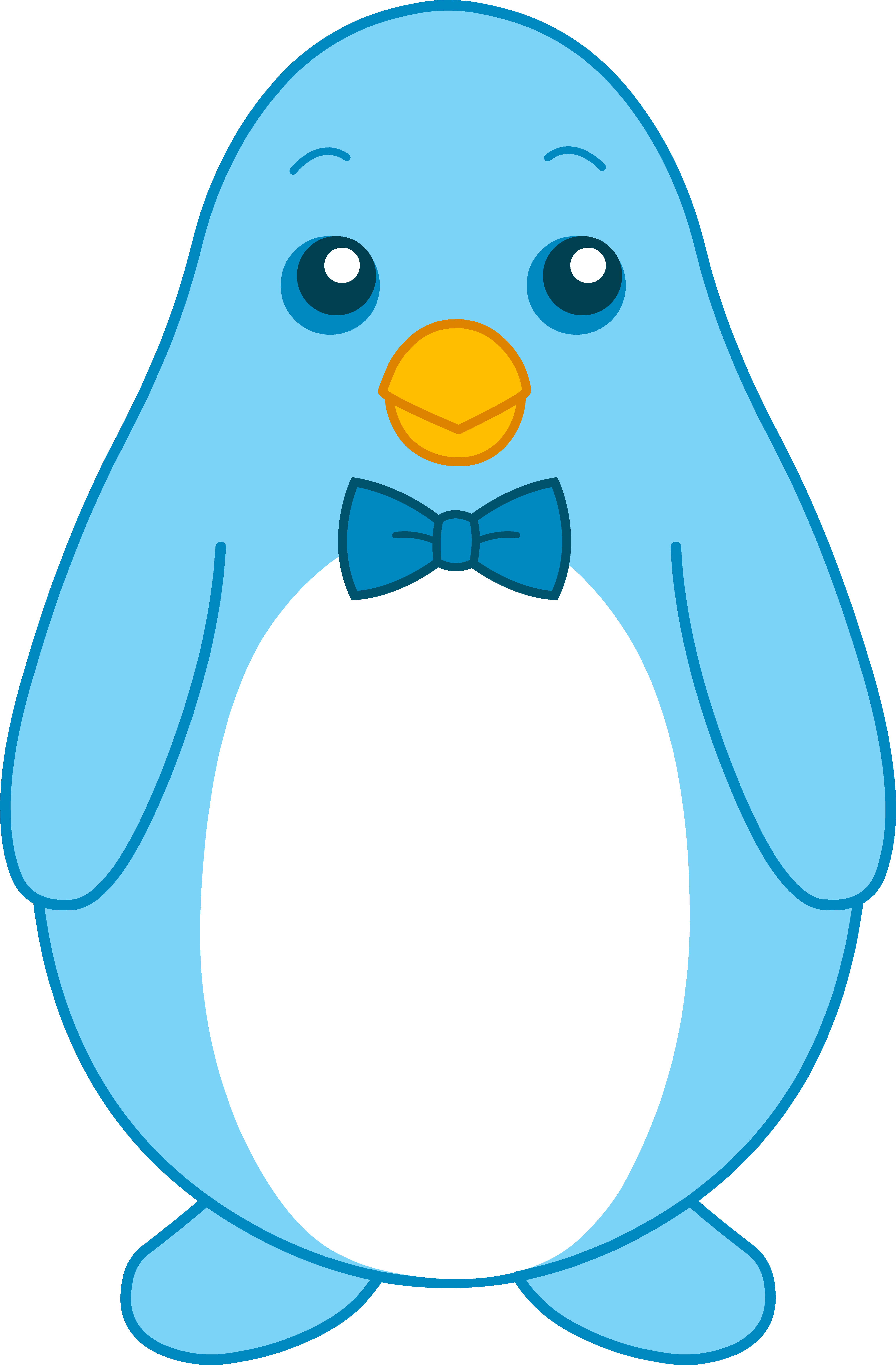 Blue drawing colorful. Little penguin with bow