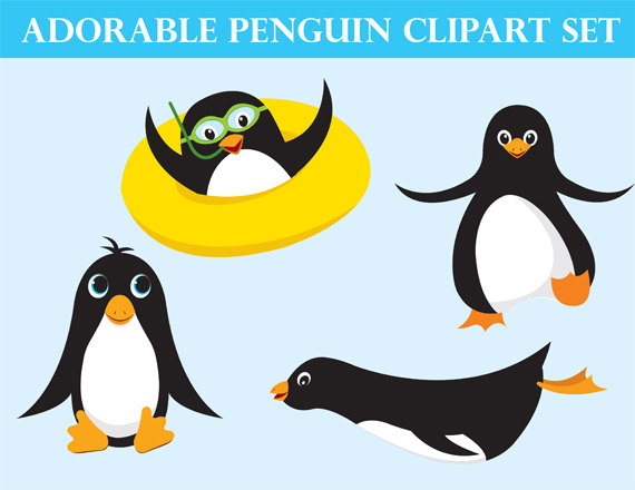 Cute clipart ocean animals. Penguin clip art printable picture library library