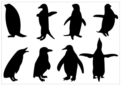 Penguin clip art silhouette. Pack template penguins and