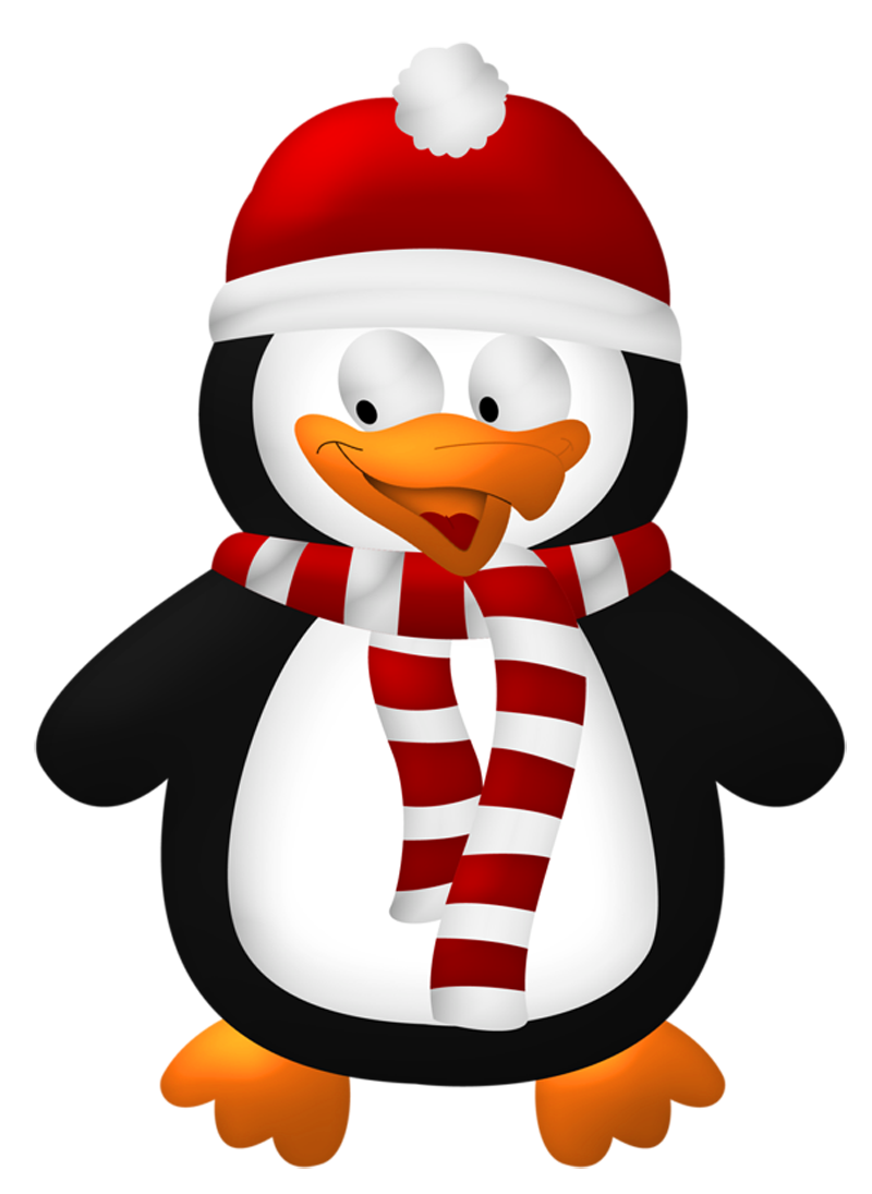 Penguin clip art transparent background. Cute christmas png clipart