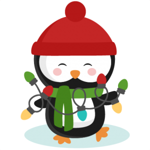 Penguin clipart christmas. With lights svg cutting