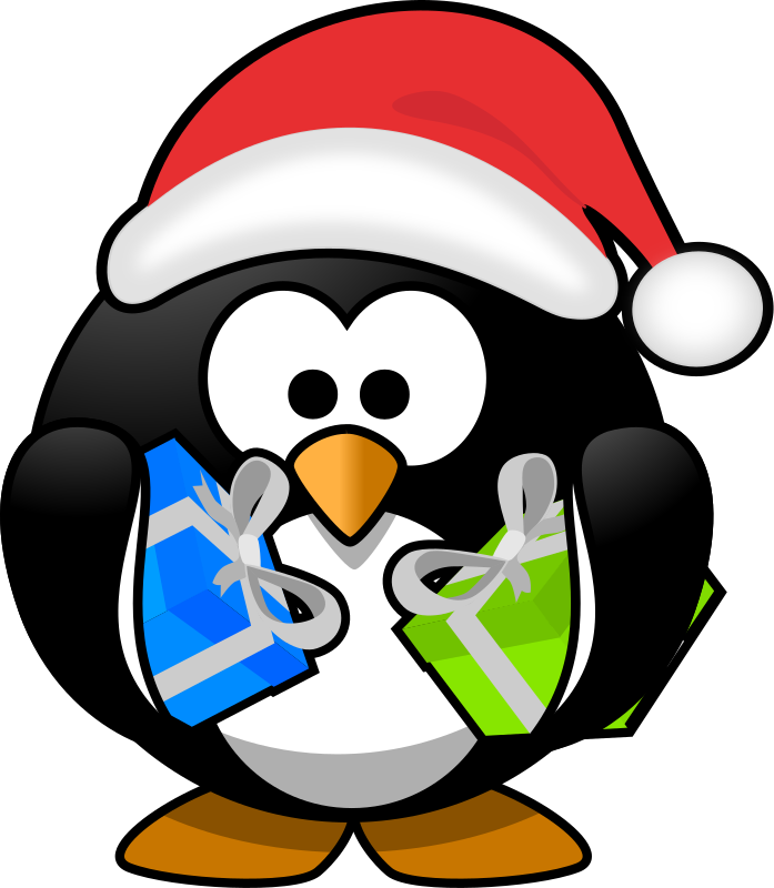 Penguin clipart christmas. Library rr collections santa