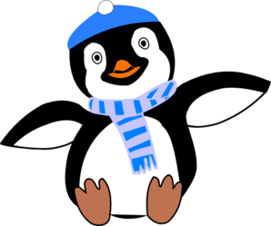 Penguin clipart hat. Wearing and scarf clip