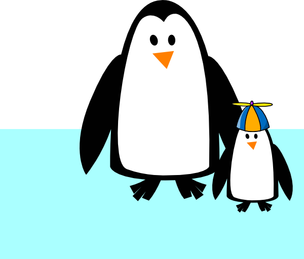 Penguin clipart mother. Mom and son clip
