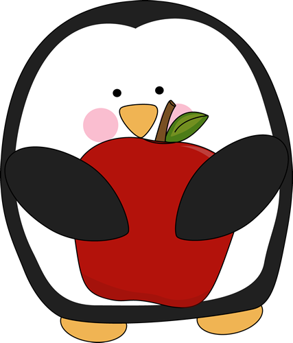 Penguin clipart school. Holding an apple teaching
