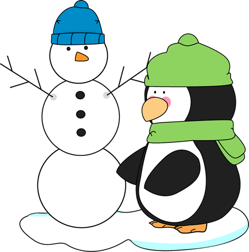 Penguin clipart snow. Mycutegraphics and snowman free