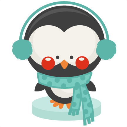Penguin clipart winter. Cute collection svg scrapbook