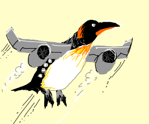 Penguin png flying. The first drawing by