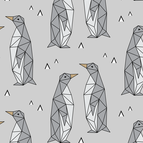 Penguin png geometric. Penguins gray fabric by