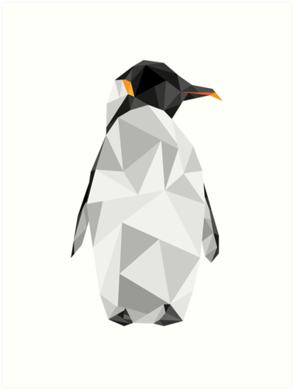 Penguin png geometric. Art prints by thelivingethan