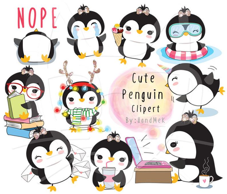 Penguin png kawaii. Cute clipart instant download