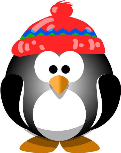Holiday penguin png. Cute with hat hi