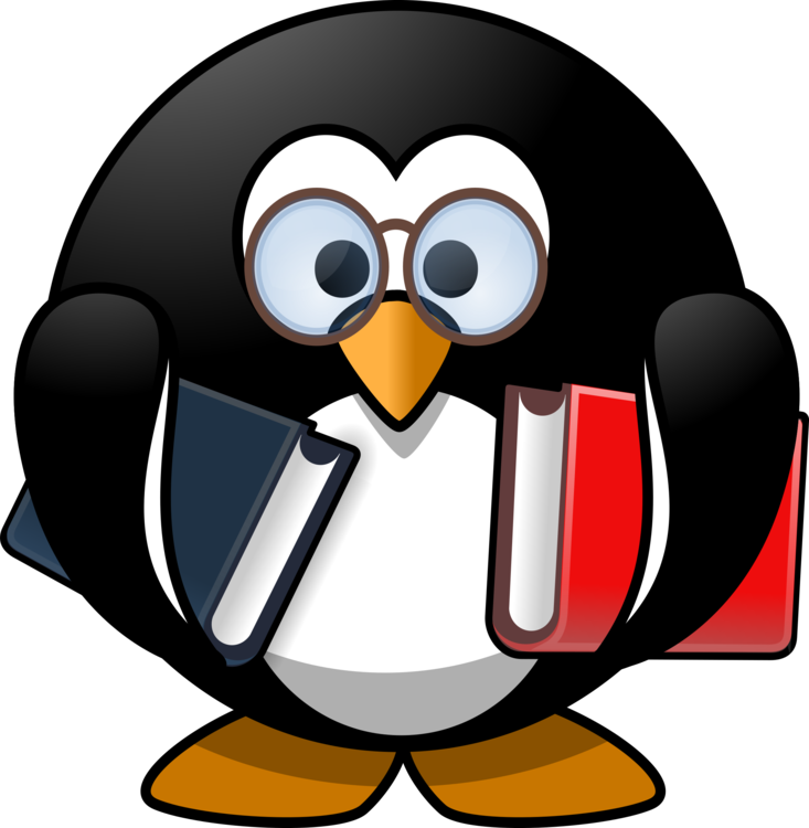 Penguin clipart school. Little book reading download