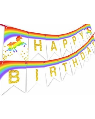 Pennant clipart birthday banner. Deals on unicorn brights