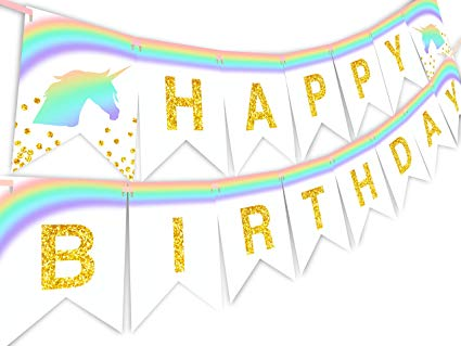 Amazon com unicorn pastel. Pennant clipart birthday banner graphic free library