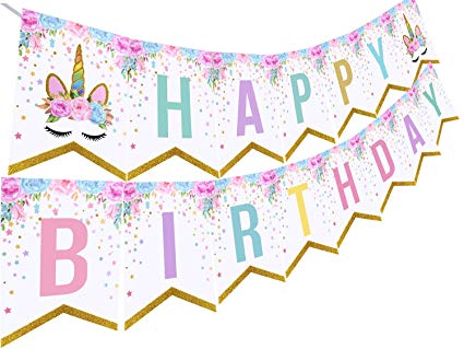 Amazon com threemart unicorn. Pennant clipart birthday banner png royalty free download