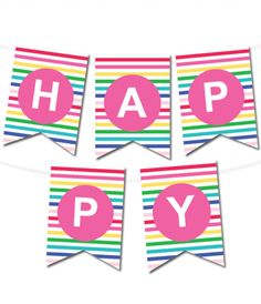 Pennant clipart happy birthday. Striped banner in colors