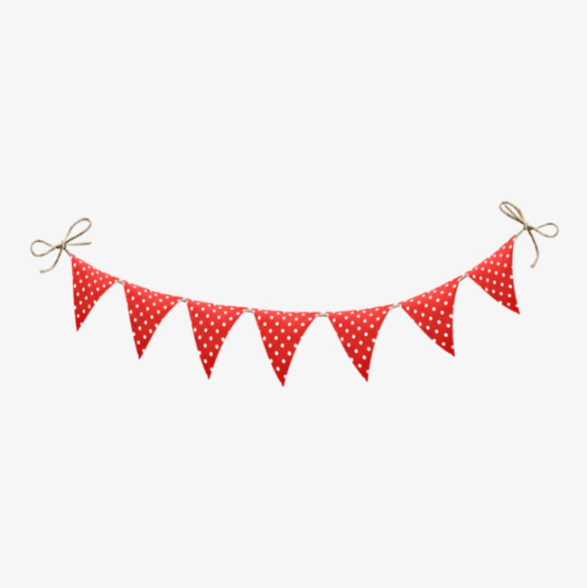 Floating bunting red dots. Pennant clipart happy birthday clip library