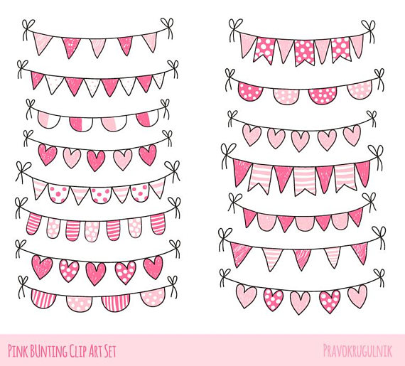 Pennant clipart heart. Valentine bunting love clip