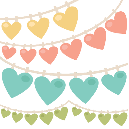 Pennant clipart heart. Swag banners svg scrapbook