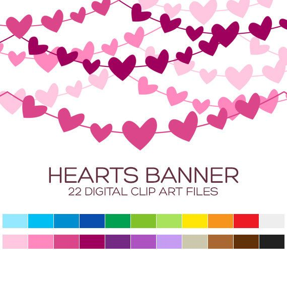 Pennant clipart heart. Banner for personal commercial