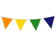 Pennant clipart rainbow banner. Free clip art bunting