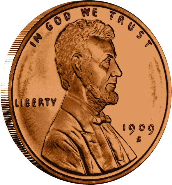 Penny transparent heads up. Copper lincoln wheat dollar