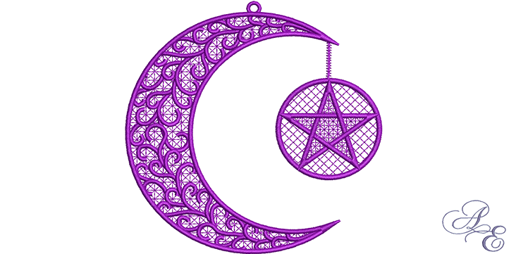 Crescent moon pentagram free