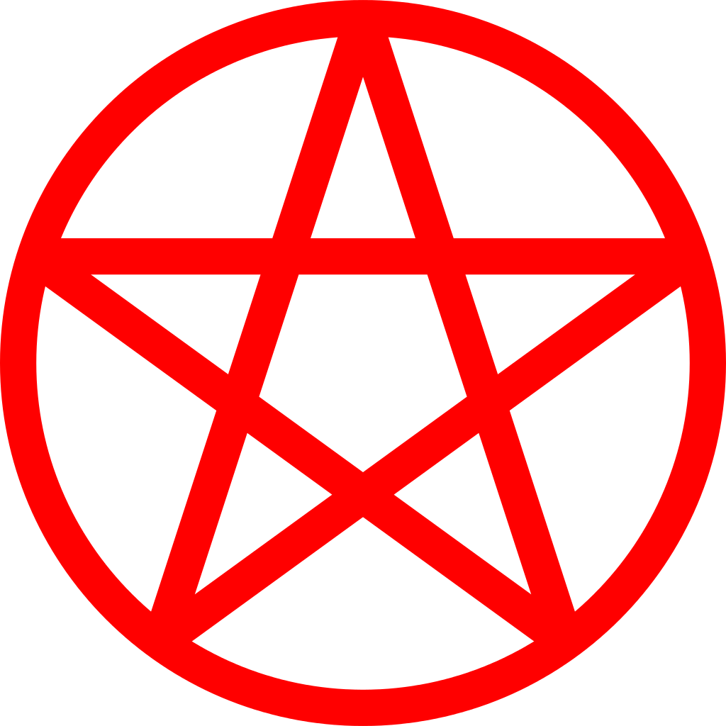 Pentacle vector. File red svg wikipedia