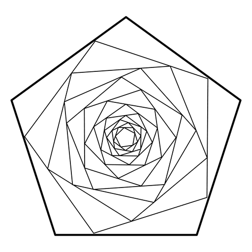 Pentagon vector geometric. Spiraling sacred geometry transparent