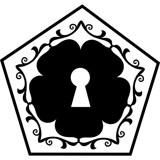 Pentagon vector graphic design. Keyhole in a flower