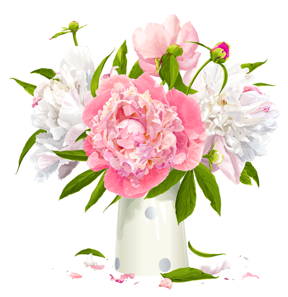 Peony clipart hand drawn. Vase with white and