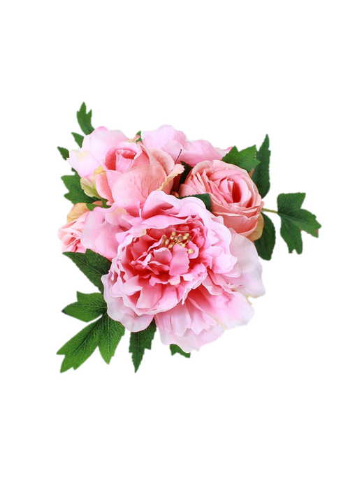 Peony bouquet png. Silk and rose in