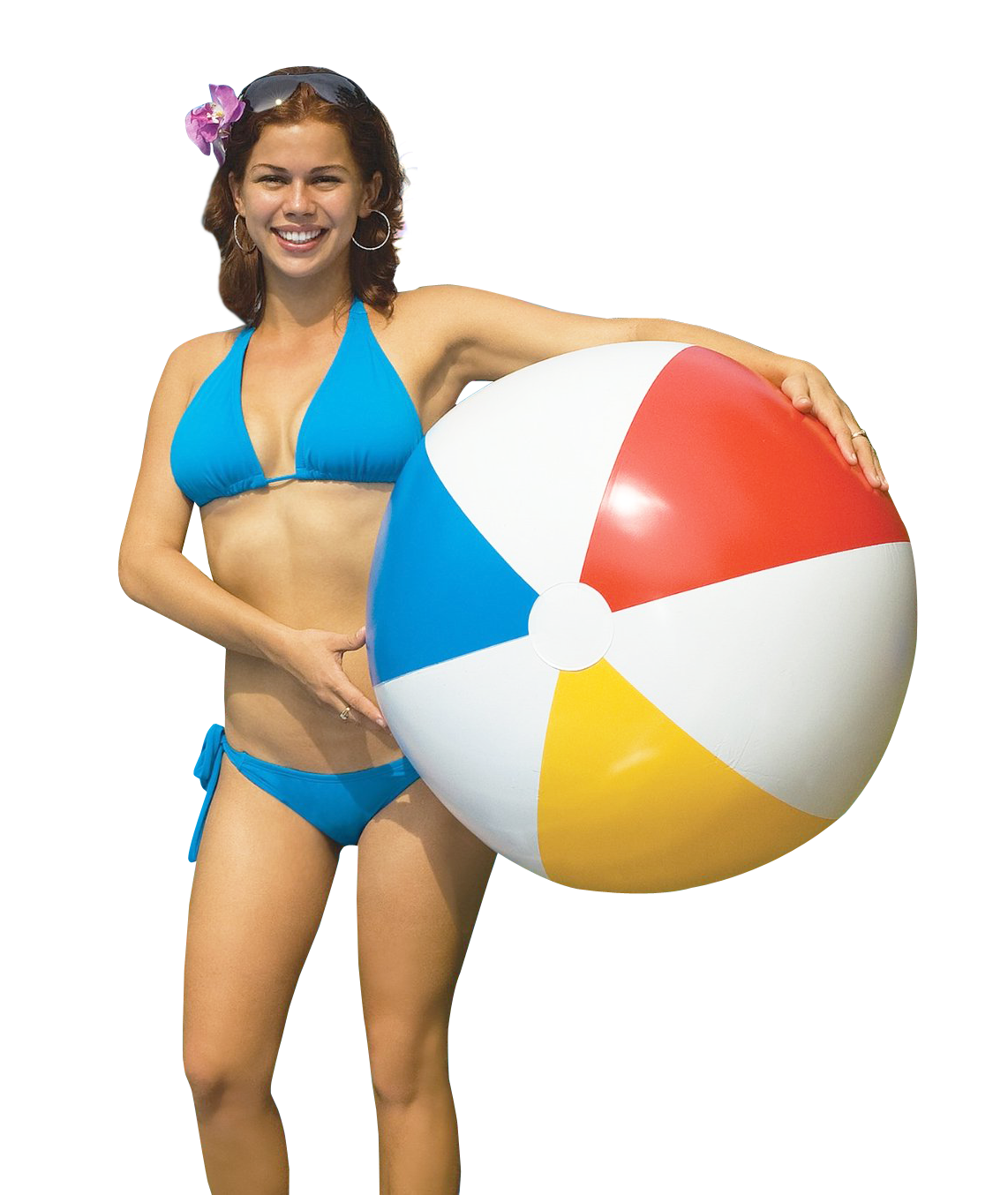 People beach png. Woman holding ball image