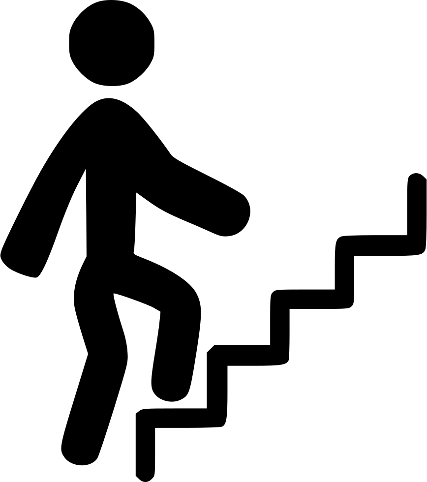 People climbing stairs png. Person svg icon free