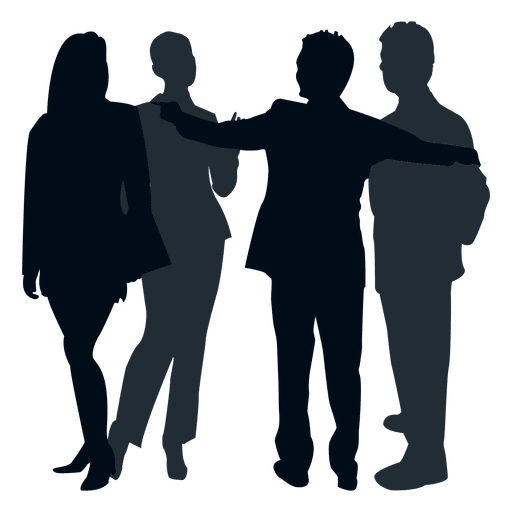 People png silhouette. Colleague group transparent svg