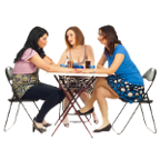 People sitting at a table png. Two women comforting their