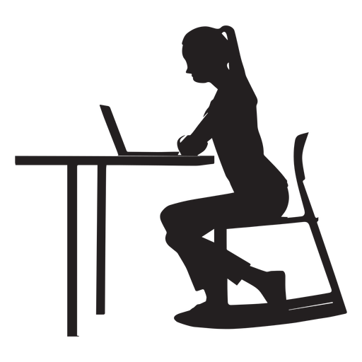 People sitting at a table png. Woman desk silhouette transparent
