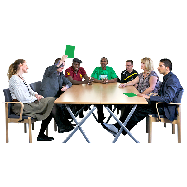 People sitting at a table png. N